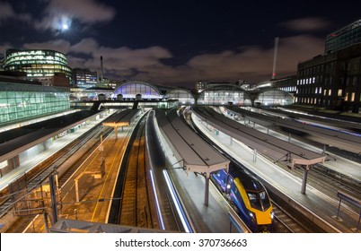 London, England - January 25, 2016: An InterCity 125 departs Paddington Station on the Great Western Railway. Electrification of the line is currently running late and over-budget.