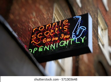 London, England - January 28, 2010: Ronnie Scotts Jazz Club, 47 Frith Street, Soho, London, Britain. First opened in 1965, This was the clubs second venue.