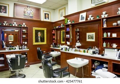 London, England - January 28, 2012: The James Bond's places, the barber shop Truefitt & Hill in St James street