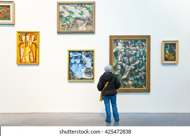 London, England - January 30, 2012:  People in the Tate Modern Art Gallery
