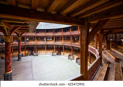 London, England - January 30, 2012:  The Shakespeare's  Globe theater rebuilded with the same materials and tecniques of the original