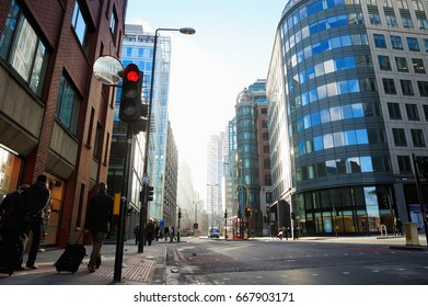 LONDON, ENGLAND- JANUARY 4, 2015: The undefined people and City View of London around Liverpool Street station. It is the north-eastern corner of the City of London