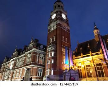 London, England January 4th 2019: Croydon clock tower illuminated at night