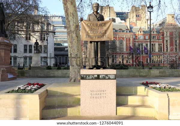 London, England, January 6th 2019: Statue of Millicent Fawcett by Gillian Wearing in Parliament Square Gardens, London