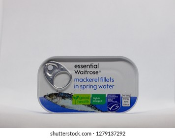 London, England - January 9 2019: Tin Of Waitrose Mackerel Fillets In Spring Water With Attractive Design From Economy Or Budget Range