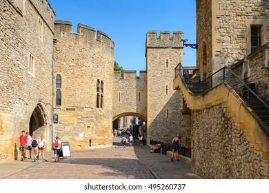 LONDON, ENGLAND - JUL 20, 2016: Part of the Tower of London (Her Majesty's Royal Palace and Fortress of the Tower of London), England. UNESCO World Heritage