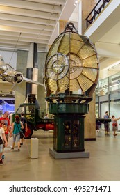 LONDON, ENGLAND - JUL 23, 2016: Interior of the Science Museum, a major museum on Exhibition Road in South Kensington, London. It was founded in 1857