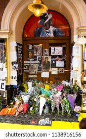 London, England - July 02, 2009: Tributes outside the Lyric Theatre in Shaftsbury avenue after the sudden death of Michael Jackson where 'Thriller Live' concert is performed in London's west end.