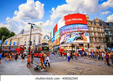 LONDON, ENGLAND - JULY 03, 2016. People and traffic in Picadilly Circus in London.A famous public space in London's West End,it was built in 1819.