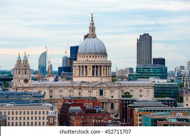 LONDON, ENGLAND - JULY 03,2016.LONDON, ENGLAND - JULY 03,2016. View from a tall building of the imposing St Paul's Cathedral in the City of London.