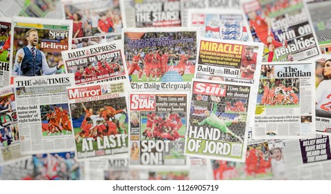London, England - July 04, 2018: British newspaper front pages reporting on England's World Cup triumph, winning their penalty shoot-out against Columbia, England are through to the quarter-finals.