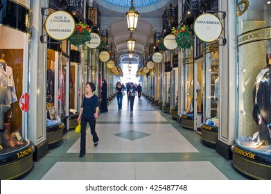 London, England - July 1, 2008:  People in the Piccadilly arcade