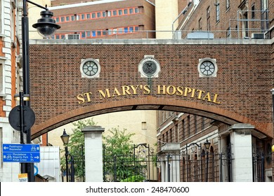 LONDON, ENGLAND - JULY 1, 2014: The entrance arch of St Mary's Hospital, Paddington where Catherine, Duchess of Cambridge gave birth on July 19 2013 of the future monarch.