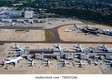 LONDON, ENGLAND - JULY 13 2017 - Gatwick airport is the most congested traffic one in United Kingdom