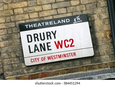 London, England - July 14 2011: Drury Lane Street Sign, Westminster, London, Britain, Drury Lane is in the heart of London's West End Theatre's