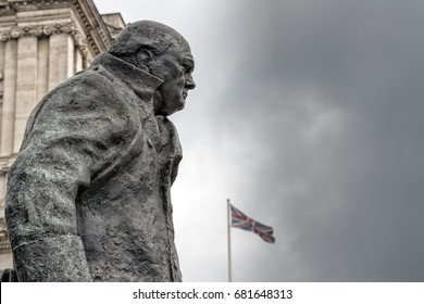 LONDON, ENGLAND - JULY 15 2017 - churchill statue in london town near  London Parliament detail close up one of town symbol and place to visit