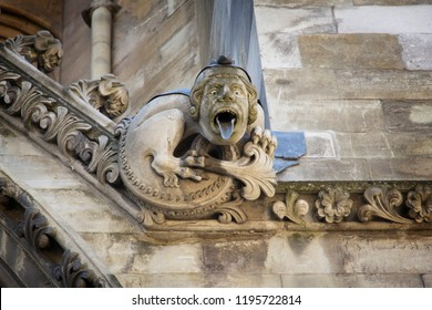 LONDON, ENGLAND - JULY 15, 2018. Gargoyle carved on one of the external walls of Westminster Abbey founded by Benedictine monks in 960AD, Westminster Abbey, London, England, July 15, 2018.