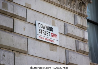 LONDON, ENGLAND - JULY 15, 2018. Downing Street sign, Westminster, London. London, England, July 15, 2018.