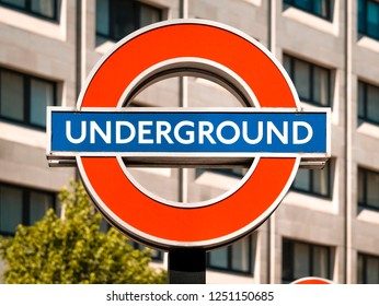 London, England - July 15, 2018: London Underground Train Station Sign, The Tube network in London began service in 1863 and now has 270 stations.