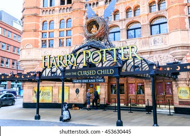 LONDON, ENGLAND - JULY 16, 2016. Front of The Harry Potter Shop  in London with large advertisement for Harry Potter and the Cursed Child.