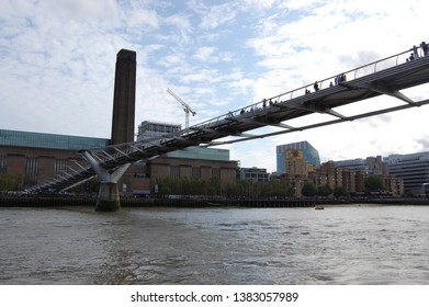 London, England - July 16-18, 2015: View of the Millennium Bridge from the Thames