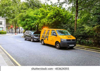 LONDON, ENGLAND - JULY 16,2016. AA assistance van during work in London.