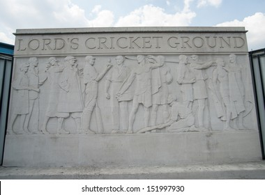 LONDON, ENGLAND - JULY 18: Lords Cricket Ground sculpture In the London England suburb of St John's Wood on July 18,2013. Lords is the official home of the sport of cricket.