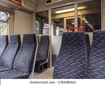 LONDON, ENGLAND - JULY 20 2020: Interior of a Greater Anglia class 321 electric multiple unit.