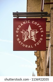 LONDON, ENGLAND - JULY 2018: Sign on the wall above the entrance to a branch of the Pret A Manger chain.