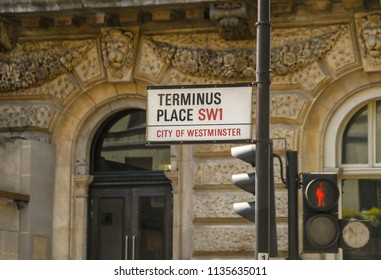 LONDON, ENGLAND - JULY 2018: Street sign at Terminus Place in Victoria, central London