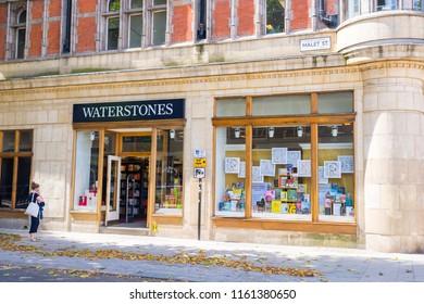 London, England - July 2018: Waterstones bookshop in Gower St, Bloomsbury, London, UK.