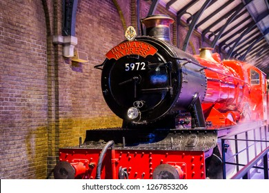 London, England – July 21, 2016: Hogwarts Express at The Making of Harry Potter at Warner Bros. Studio Tour London, A behind the scenes walking tour of Harry Potter movies.