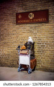 London, England – July 21, 2016: The Platform 93/4 at The Making of Harry Potter at Warner Bros. Studio Tour London, A behind the scenes walking tour of Harry Potter movies.
