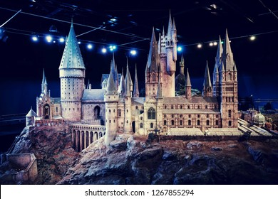London, England – July 21, 2016: Hogwarts Castle at The Making of Harry Potter at Warner Bros. Studio Tour London, A behind the scenes walking tour of Harry Potter movies.