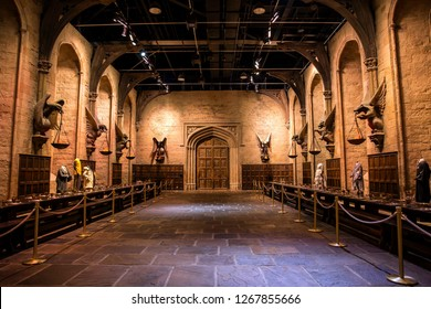 London, England – July 21, 2016: Great Hall at The Making of Harry Potter at Warner Bros. Studio Tour London, A behind the scenes walking tour of Harry Potter movies.