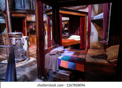 London, England – July 21, 2016: Gryffindor Boy's Dorm Room at The Making of Harry Potter at Warner Bros. Studio Tour London, A behind the scenes walking tour of Harry Potter movies.