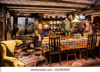 London, England – July 21, 2016: The Burrow at The Making of Harry Potter at Warner Bros. Studio Tour London, A behind the scenes walking tour of Harry Potter movies.