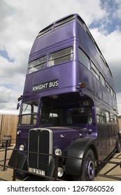 London, England – July 21, 2016: Knight Bus at The Making of Harry Potter at Warner Bros. Studio Tour London, A behind the scenes walking tour of Harry Potter movies.