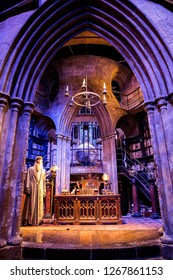 London, England – July 21, 2016: Dumbledore's office at The Making of Harry Potter at Warner Bros. Studio Tour London, A behind the scenes walking tour of Harry Potter movies.