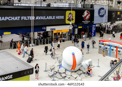 LONDON, ENGLAND - JULY 21, 2016: Ghostbusters movie promo decoration at the Waterloo station, London. Ghostbusters is a 2016 American comedy film by Paul Feig