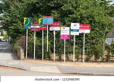 LONDON, ENGLAND - July 21, 2018. For sale signs on display as prices and sales the housing market pick up, London, England, July 21, 2018.