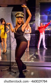 LONDON, ENGLAND - JULY 22, 2016: Beyonce Knowles, Madame Tussauds wax museum. It is a major tourist attraction in London