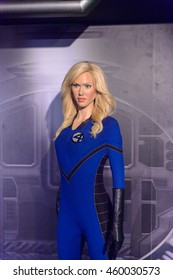 LONDON, ENGLAND - JULY 22, 2016: Invisible Woman from Fantastic Four, Madame Tussauds wax museum. It is a major tourist attraction in London