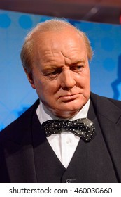 LONDON, ENGLAND - JULY 22, 2016: Winston Churchill, Madame Tussauds wax museum. It is a major tourist attraction in London