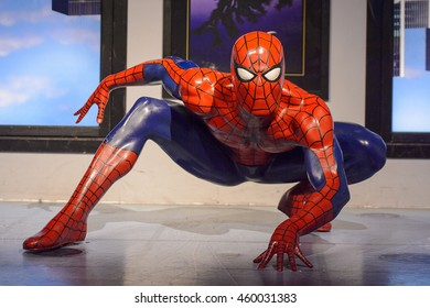 LONDON, ENGLAND - JULY 22, 2016: Spiderman at the Madame Tussauds wax museum. It is a major tourist attraction in London