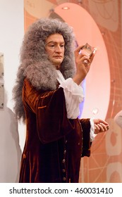 LONDON, ENGLAND - JULY 22, 2016: Isaac Newton, Madame Tussauds wax museum. It is a major tourist attraction in London