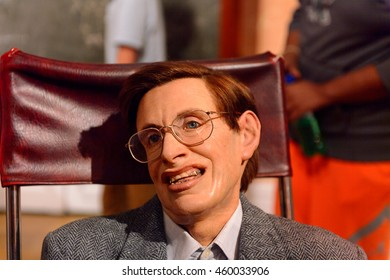 LONDON, ENGLAND - JULY 22, 2016: Professor Stephen Hawking,  Madame Tussauds wax museum. It is a major tourist attraction in London