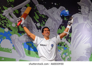 LONDON, ENGLAND - JULY 22, 2016: Sachin Tendulkar cricket player, Madame Tussauds wax museum. It is a major tourist attraction in London