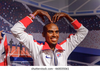 LONDON, ENGLAND - JULY 22, 2016: Brisitsh athlet Mo Farah, Madame Tussauds wax museum. It is a major tourist attraction in London