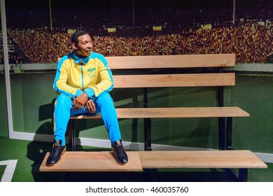 LONDON, ENGLAND - JULY 22, 2016: Brazilan football player Pele, Sport section, Madame Tussauds wax museum. It is a major tourist attraction in London